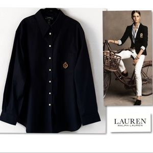 Lauren Ralph Lauren Black Crest Plus SZ Shirt 18W